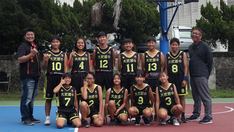 大武國中男籃,108年大武青武盃少年籃球邀請賽女子組冠軍,球隊合影。